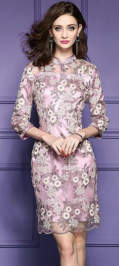 Chic Stand Collar Improved Cheongsam Mesh Embroidered Slim Dress