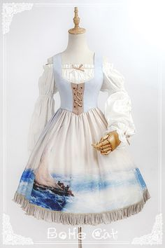 Bohe Cat -The Ancient Voyage- Pirate Lolita Vintage Classic Lolita OP Dress (Detachable Sleeves)