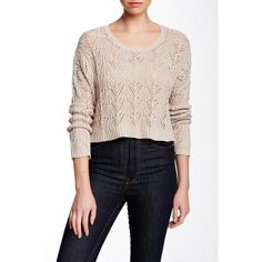 Autumn Cashmere Shell Stitch Crop Sweater ($80) ❤ liked on Polyvore featuring tops, sweaters, beech, crop top, crew neck sweaters, pink top, cropped crew neck sweater and autumn cashmere sweaters