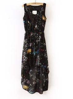black galaxy high low dress - $32