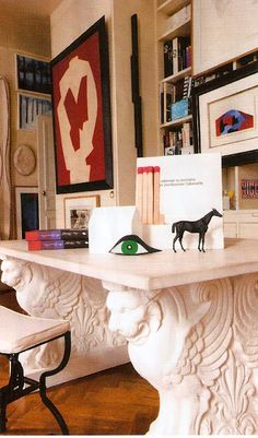 nice idea - could play with what's under the table...    now THAT'S a desk. // elle decor france