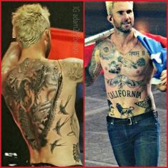 I used to live his tattoos, but he's gone a bit over board for me. Plus I'm still upset that he covered the paw print for Frankie girl on his back Celebrities Then And Now, Hottest Male Celebrities, Celebs, Maroon 5, Hello Gorgeous, Beautiful Men, Adam Levine Tattoos, Adam Noah Levine, Body Art Tattoos