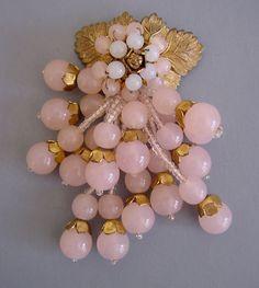 Haskell Frank Hess pink & white bracelet, clip & earrings ...