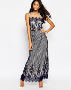 Image 1 of Little Mistress Maxi Dress in Striped Lace