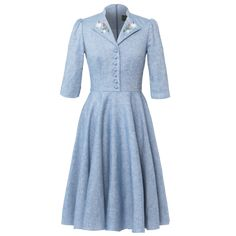 """Light blue dress """"Mona"""" with button-through top and lapel collar with embroidered lapel collar by Lena Hoschek Tradition Dresses For Work, Dresses With Sleeves, Summer Dresses, Feminine Mode, Dirndl Blouse, Ribbon Skirts, Mona, Retro Stil, Light Blue Dresses"""