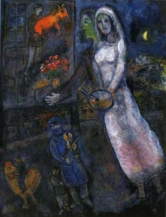 "Chagall, Pintor De Sonhos... ""Newlyweds and Violinist"", 1956."
