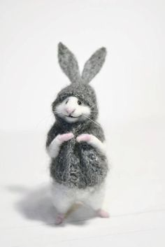 MADE TO ORDER! Bunny mouse Little mouse Miniature mouse Mouse bunny Bunny suit Mouse in sweater Mouse and gift Gift White mouse Cute mouse Grey Bunny, Cute Bunny, Bunny Bunny, Bunnies, Needle Felted Ornaments, Felt Ornaments, Needle Felted Animals, Felt Animals, Wet Felting