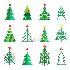 Christmas fir tree abstract geometric icons set. Fir tree isolated on white for Happy New Year, Christmas Winter Holiday decoration with snowflakes, santa, reindeer, christmas balls, fir tree, stars, gifts, symbols, web, vector template, transparent.– stock illustration