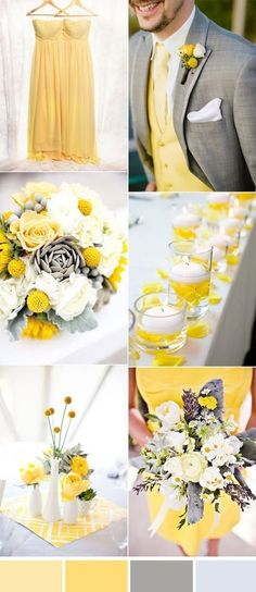 bright yellow and grey wedding colors and bridesmaid dresses. wedding colors for spring and summer; Yellow Grey Weddings, Gray Wedding Colors, Spring Wedding Colors, Gray Weddings, Wedding Color Schemes, Wedding Yellow, Wedding Summer, Spring Weddings, Summer Colors