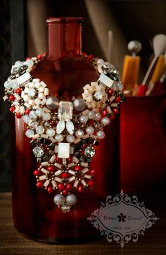 Bitter Sweet Jewellery. Statement Necklace. #bold #trend #fashion #Beads #redandblack #2014 #2015 #winterfashion