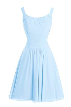 Dora Bridal Womens ALine Straps Chiffon Bridesmaid Dress 2016 Sky Blue *** You can find out more details at the link of the image.