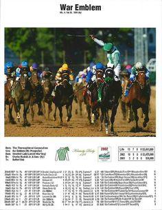 War Emblem. 2002 Kentucky Derby winner. Jockey: Victor Espinoza. Winning time: 2:01: 13 #KentuckyDerby
