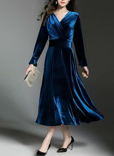 Cheap velvet party dress, Buy Quality pleated dress directly from China party dresses Suppliers: Tingfly Designer Cross V neck Velvet Pleated Dress Vintage. Long Sleeve Midi Dress, Bell Sleeve Dress, Bell Sleeves, Velvet Dress Long Sleeve, Blue Dresses, Vintage Dresses, Dresses Dresses, Velvet Dress Designs, Marine Uniform
