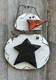 Primitive Snowman Wood Decor Rustic Winter Decor by therustygoose, $15.95