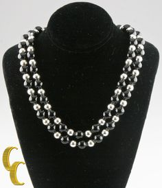 Tiffany & Co. Sterling Silver & Black Onyx Beaded Necklace 30'' w/ Pouch Retired #TiffanyCo #StrandString