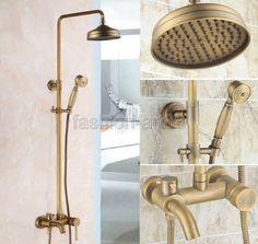 Retro-Antique-Bronze-8-034-Rainfall-Shower-Faucet-Set-Bath-Mixer-Tap-Frs184