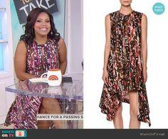 9f653e73a34 Sheinelle s sleeveless asymmetric dress on Today. Outfit Details  https    wornontv.