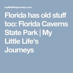 Florida has old stuff too: Florida Caverns State Park | My Little Life's Journeys