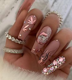 In search for some nail designs and some ideas for your nails? Here is our set of must-try coffin acrylic nails for modern women. Weed Nails, Aycrlic Nails, Bling Nails, Swag Nails, Glitter Nails, Nail Nail, Junk Nails, Bling Nail Art, Stiletto Nails