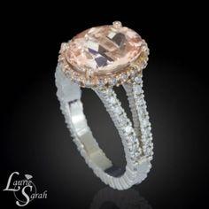 14k White and Rose Gold Morganite and Diamond Split Shank Ring LS3595