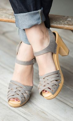 woven wooden heeled clogs
