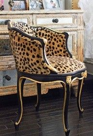 wow! leopard print black and gold chair  #heirloomheaven