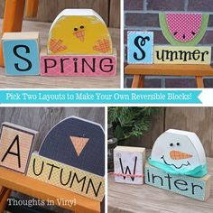 Reversible Seasonal blocks {you pick two layouts}.  How cute are these?!  Spring kit includes 2 nails for eyes, with vinyl beak and feet.  Nails are used for eyes for the crow and snowman as well.