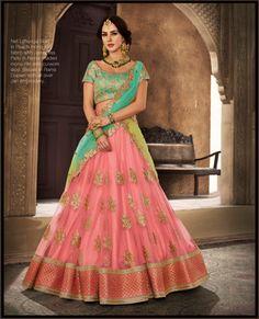 Pink and Green Wedding Lengha choli - Lengha Choli, Lehenga Saree, Bridal Lehenga, Bridle Dress, Lehenga Collection, Lehenga Designs, Wedding Fabric, Half Saree, Chiffon Fabric