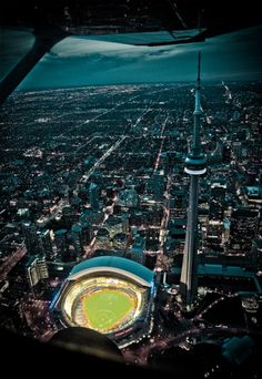 Aerial view of the The Rogers Centre and the CN Tower, Toronto, Ontario, Canada Toronto Skyline, Toronto City, Art Toronto, Downtown Toronto, Ontario, O Canada, Canada Travel, British Columbia, Torre Cn