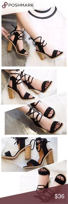"""JUST IN: Open Toe Lace Up Heel Sandals (Black)NWOB Cute Black Sandals for work or Night on the town.   Elastic ankle strap for fit and comfort. Lace up closure ties around ankle. Lining material : PU. Fits true to size. Limited quantities available. Heel height : almost 4"""". Insole material: Rubber. Medium width. Square heel. Outsole material: Rubber. Upper material: Newbuck Leather (similar texture to suede).  Brand new without box but will be shipped securely to avoid any damage in the…"""