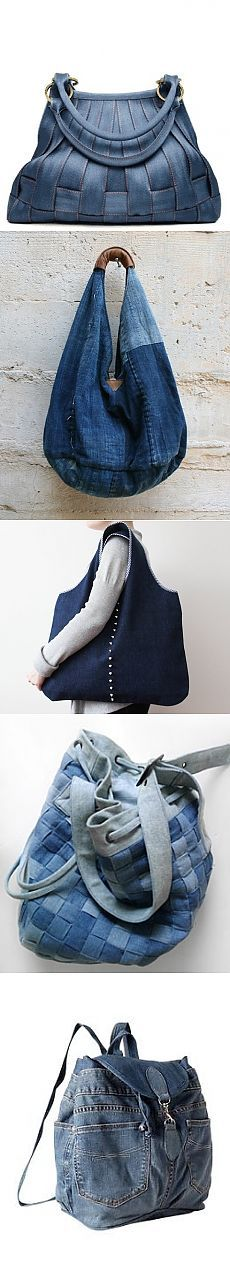 Bags of jeans (traffic) / Alteration jeans / The hands - patterns, alteration of clothing, interior decoration with your own hands - on Second Street Fabric Bags, Blue Jeans, Leather Bag, Gym Bag, Clothes, Tote Bags, Denim, Sewing, Street