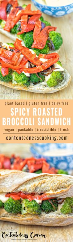 This Spicy Roasted Broccoli Sandwich is super easy to make and so much fun to eat. Made with the best dairy free aioli you can ask for. It makes an amazing entirely vegan, gluten free lunch, dinner, snack or even breakfast. #vegan #glutenfree #dairyfree #plantbased
