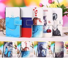 New Fashion Patterns Cartoon Luxury Flip Phone Wallet case for coque Wiko Lenny 3, Lanyard Gift+Tracking number