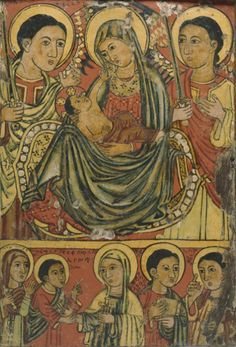 Ethiopian (Artist unknown), late 15th century, Icon of the Virgin and Child, tempera on wood.