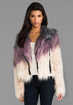 CHASER Faux Fur Moto Jacket in Dust/ Violet