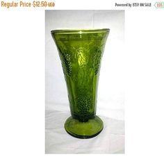 Vintage GREEN Glass Vase Indiana Green Glass Grape