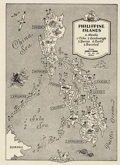 Philippines Map Art / Vintage Map Print / Retro Map Artwork / Old Map Wall Art / Manila Philippines / Travel Wall Decor / Nursery Room by HildaLea on Etsy World Travel Decor, Travel Wall Decor, World Map Decor, Map Artwork, Map Wall Art, Philippine Map, Mindanao, Island Map, Cebu