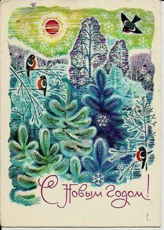 Happy New Year, Bullfinch, Birds, Vintage Russian Postcard print 1969 by LucyMarket on Etsy