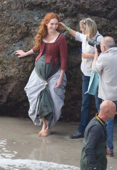 Aiden Turner and Eleanor Tomlinson filming the new series of Poldark