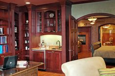 Cherry home office in master suite designed by Monica Miller CKD, CBD, CR