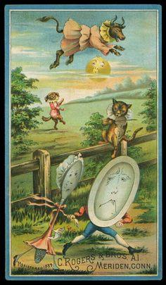 And the dish ran away with the spoon... Vintage Children's Books, Vintage Ephemera, Vintage Postcards, Vintage Pictures, Vintage Images, Kleiner Muck, Old Nursery Rhymes, Pomes, Vintage Nursery