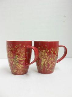 Rose Red Ceramic Mugs Hand Painted by FolkArtByNancy on Etsy