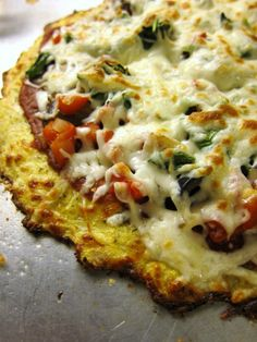 Cauliflower Crust Pizza Serves 2; Adapted from Eat Drink Smile Ingredients: 1 cup cooked, riced cauliflower 1 cup shredded mozzarel...