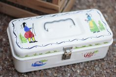 AFTER-Re-purposed Bride's Toolbox painted with antique Quimper designs!