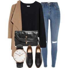 Abrigo café + camibuso negro + jean claro + zapatos negros
