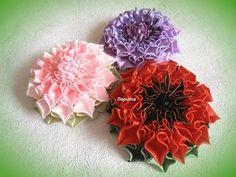 DIY satin ribbon flower, kanzashi, Tutorial - YouTube