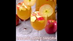 Caramel Apple Sangria - The Wholesome Dish Caramel Apple Sangria, Apple Cider Sangria, Caramel Vodka, Caramel Apples, Fall Drinks, Holiday Drinks, Cocktail Drinks, Cocktails, Peach Sangria Recipes