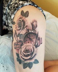 Rose tattoo. Compass tattoo. Roses and compass thigh tattoo by the talented Nick Beuthien of Seattle, WA. Matthew 28:16-20. Religious tattoo. Scripture tattoo. Girls with tattoos.