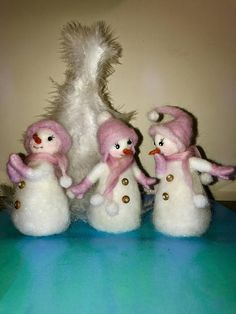 Three friends are made in the technique of dry felting, white and shiny in pink hats and mittens. They are cute and funny and you can put them in different compositions. The height of snowmen is about 4,6 (12 cm). Christmas tree is not included in the price of the item.