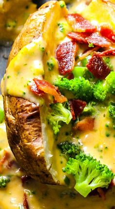 Baked Potatoes with Loaded Broccoli Bacon Cheese Sauce Baked Potatoes with Load. - Baked Potatoes with Loaded Broccoli Bacon Cheese Sauce Baked Potatoes with Loaded Broccoli Bacon C - Baked Potato Bar, Baked Potato Recipes, Baked Potato Toppings Bar, Stuffed Baked Potatoes, Loaded Baked Potatoes, Cheesy Potatoes, Mashed Potatoes, Side Dish Recipes, Dinner Recipes